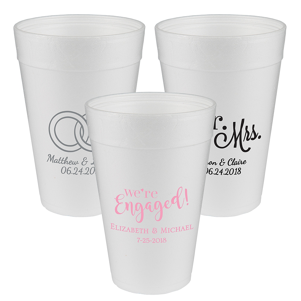 Personalized Wedding Foam Cups 32oz Image #1