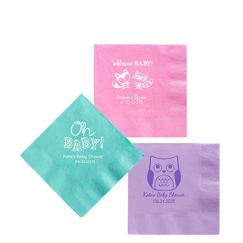 Personalized Baby Shower Beverage Napkins Image #1