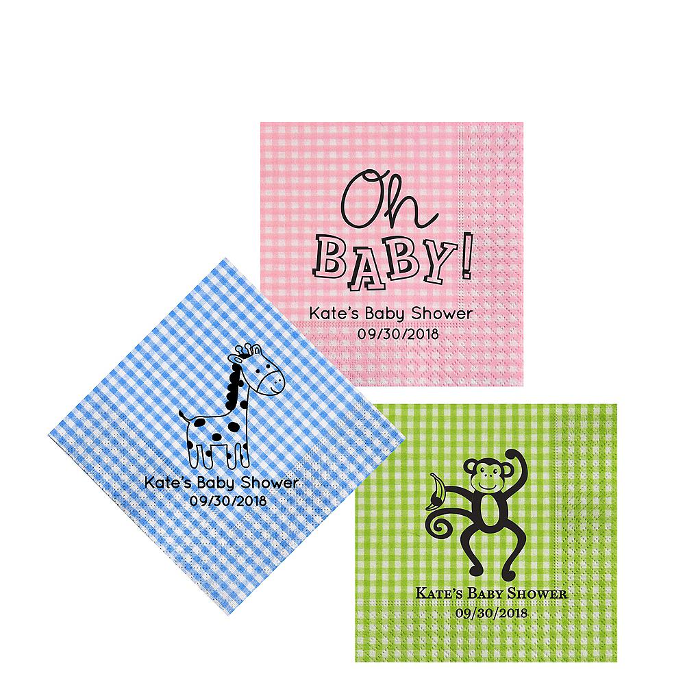 Personalized Baby Shower Gingham Beverage Napkins Image #1