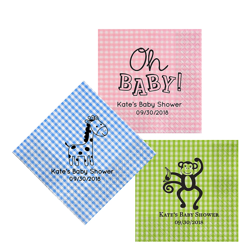 Personalized Baby Shower Gingham Lunch Napkins Image #1