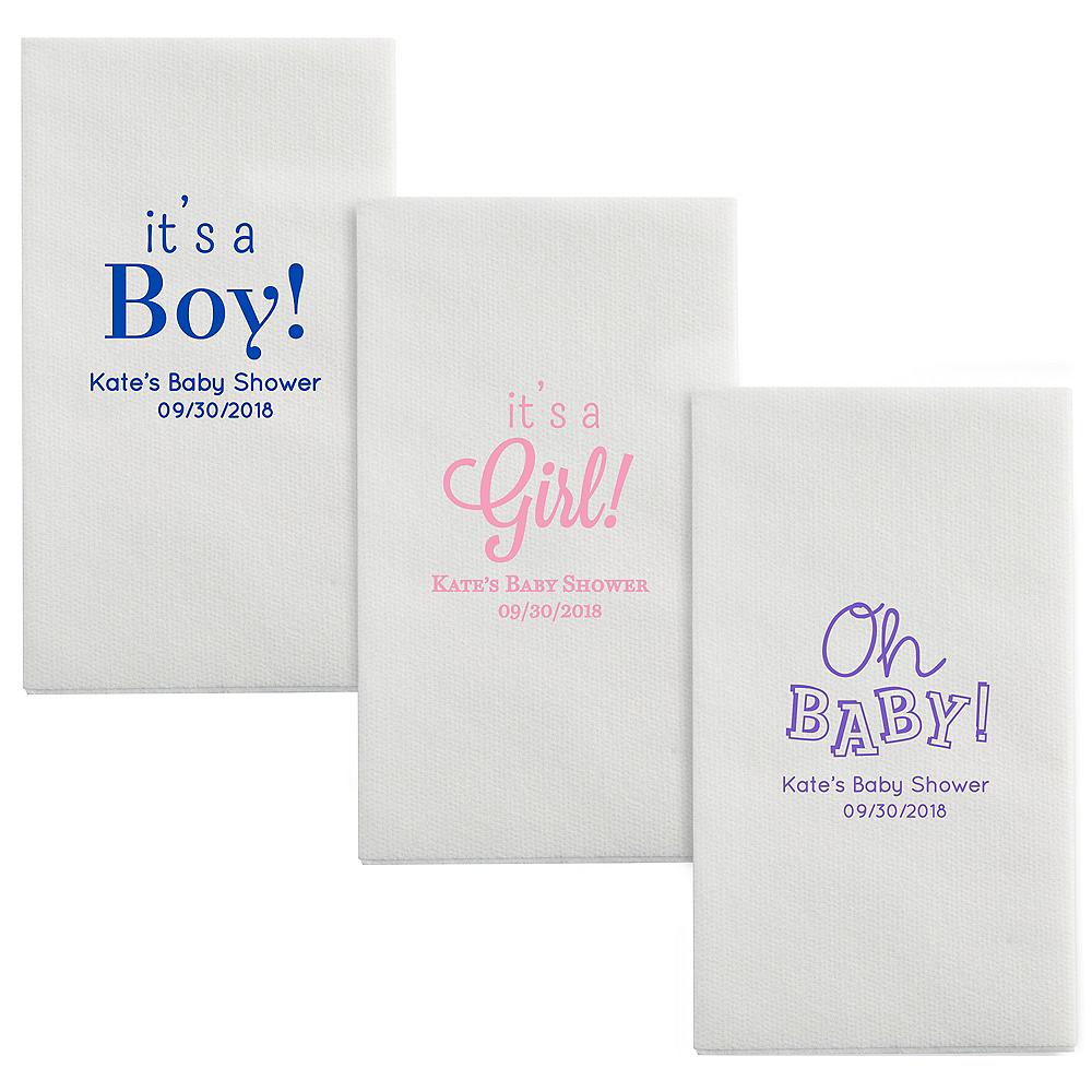 Personalized Baby Shower Luxury Deville Side-Fold Dinner Napkins Image #1