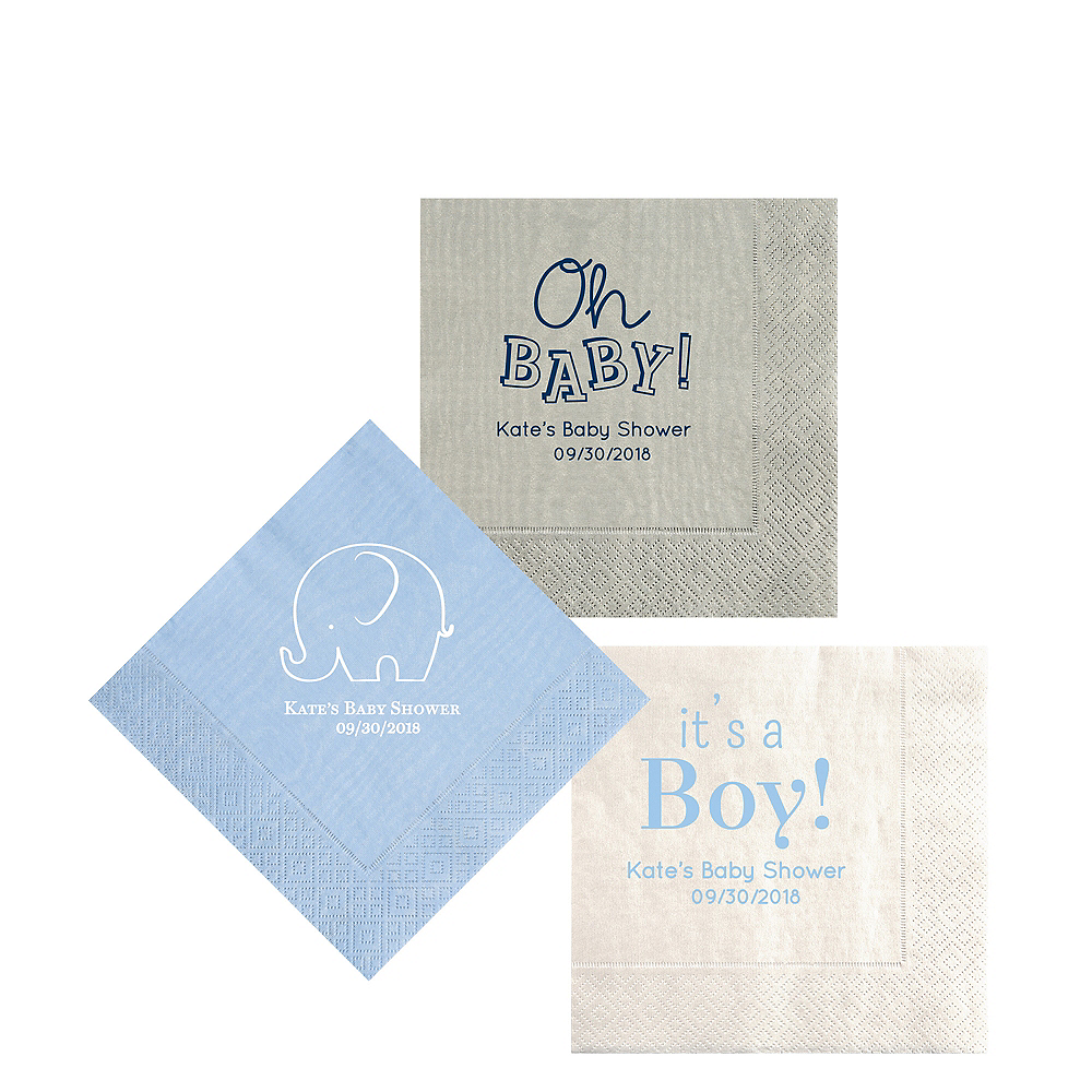 Personalized Baby Shower Moire Beverage Napkins Image #1