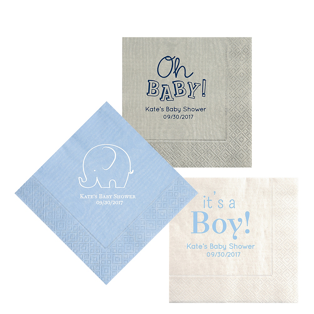 Personalized Baby Shower Moire Lunch Napkins Image #1