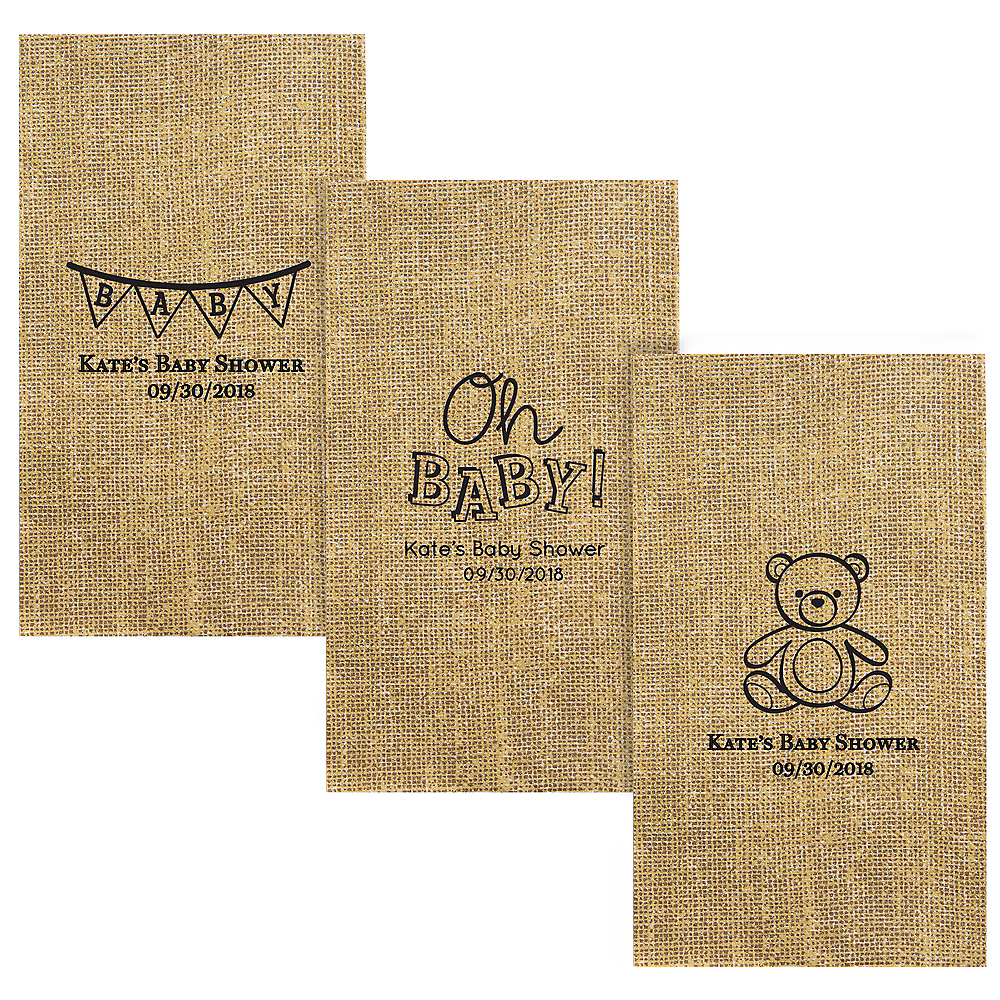 Personalized Baby Shower Burlap Print Guest Towels Image #1