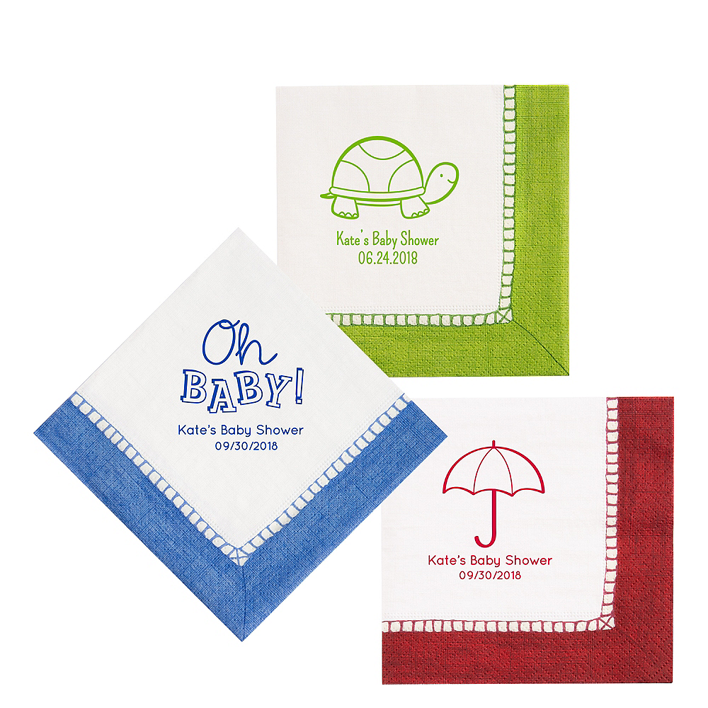 Personalized Baby Shower Bordered Lunch Napkins Image #1