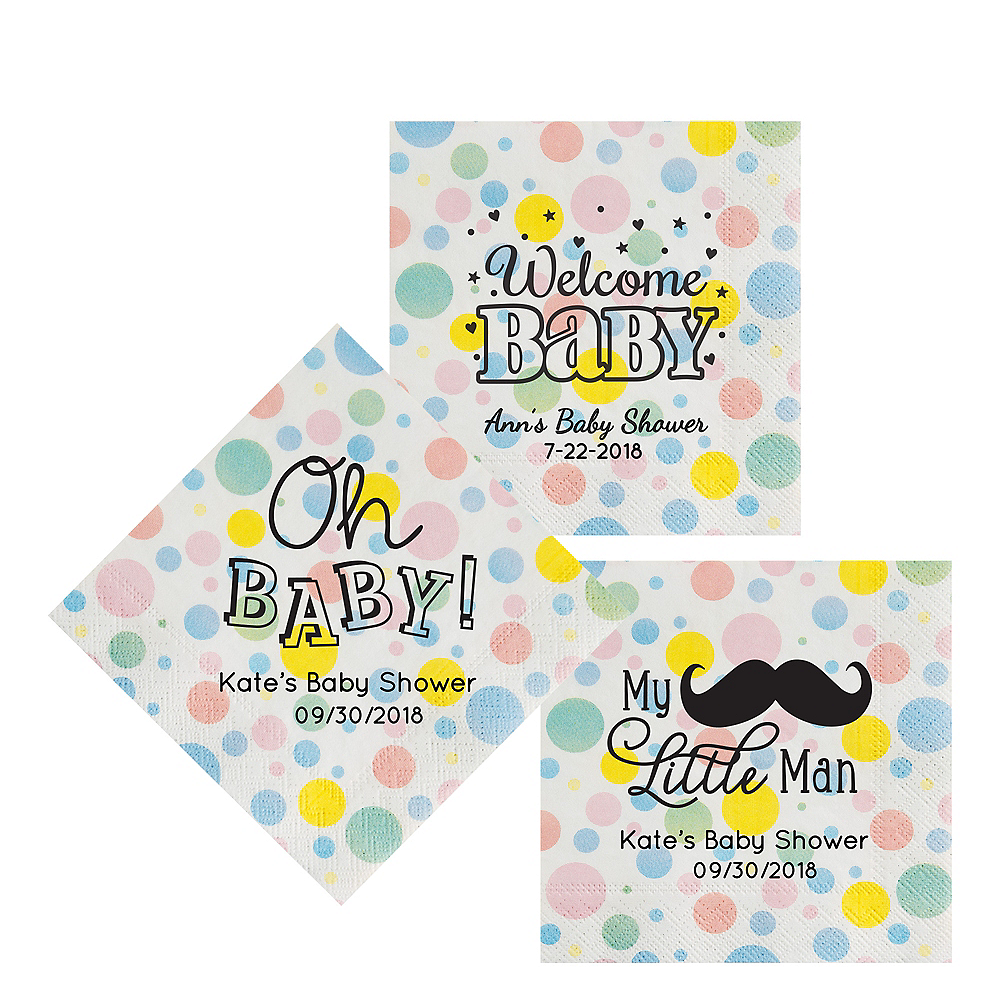 Nav Item for Personalized Baby Shower Pastel Dots Lunch Napkins Image #1