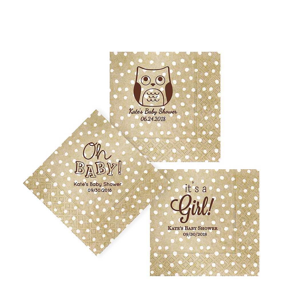Personalized Baby Shower Small Dots Beverage Napkins Image #1