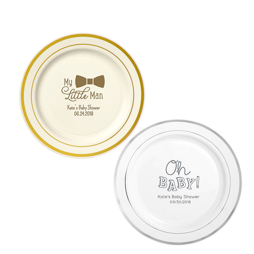 Personalized Baby Shower Trimmed Premium Plastic Dinner Plates Image #1