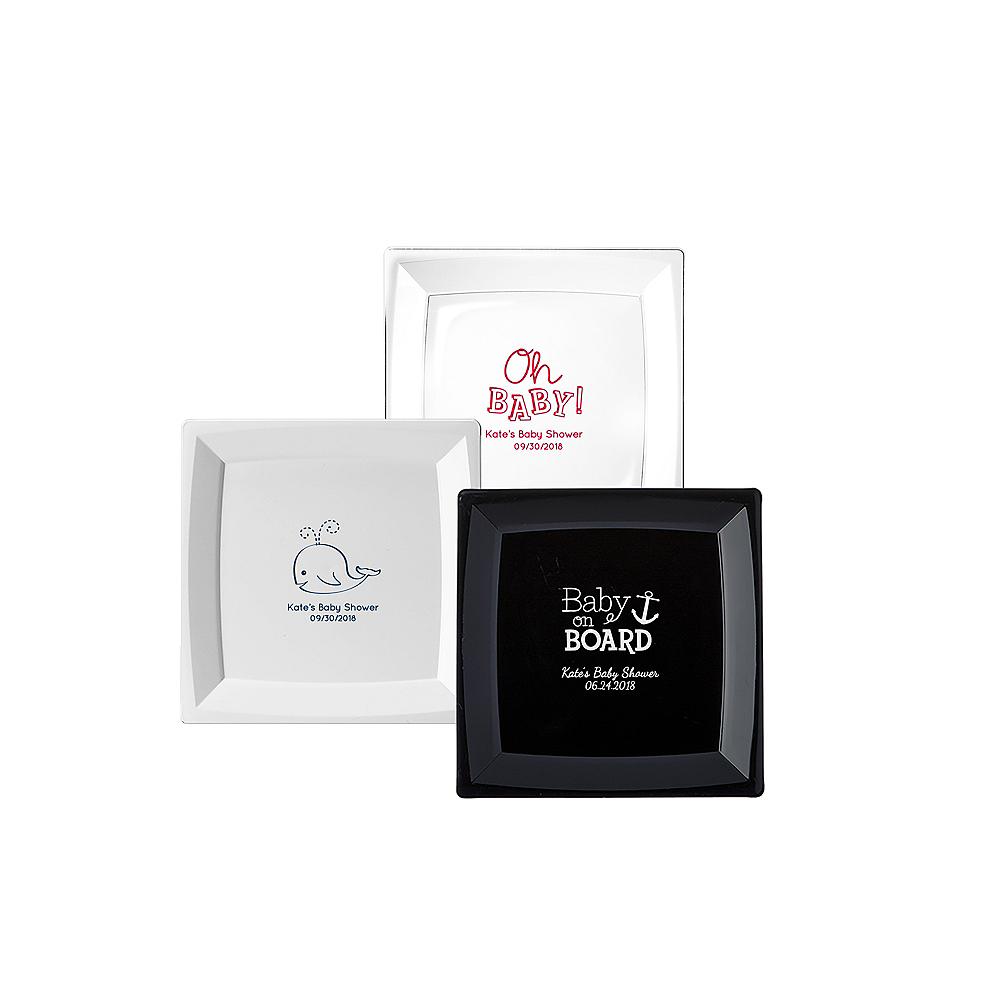 Personalized Baby Shower Premium Plastic Square Appetizer Plates Image #1