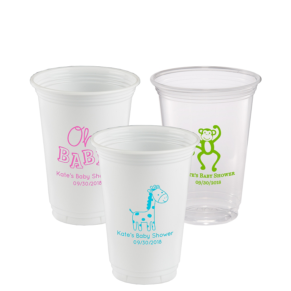 Personalized Baby Shower Plastic Party Cups 16oz Image #1