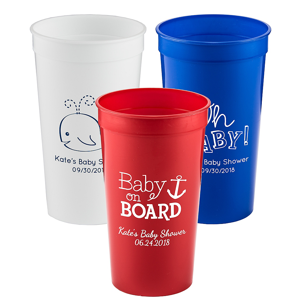 43a2958ba96 Personalized Baby Shower Plastic Stadium Cups 32oz   Party City
