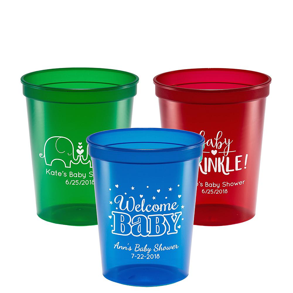 8d380a7244c Personalized Baby Shower Translucent Plastic Stadium Cups 16oz Image #1