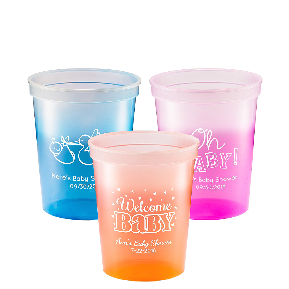 Personalized Baby Shower Color-Changing Plastic Stadium Cups 16oz ...