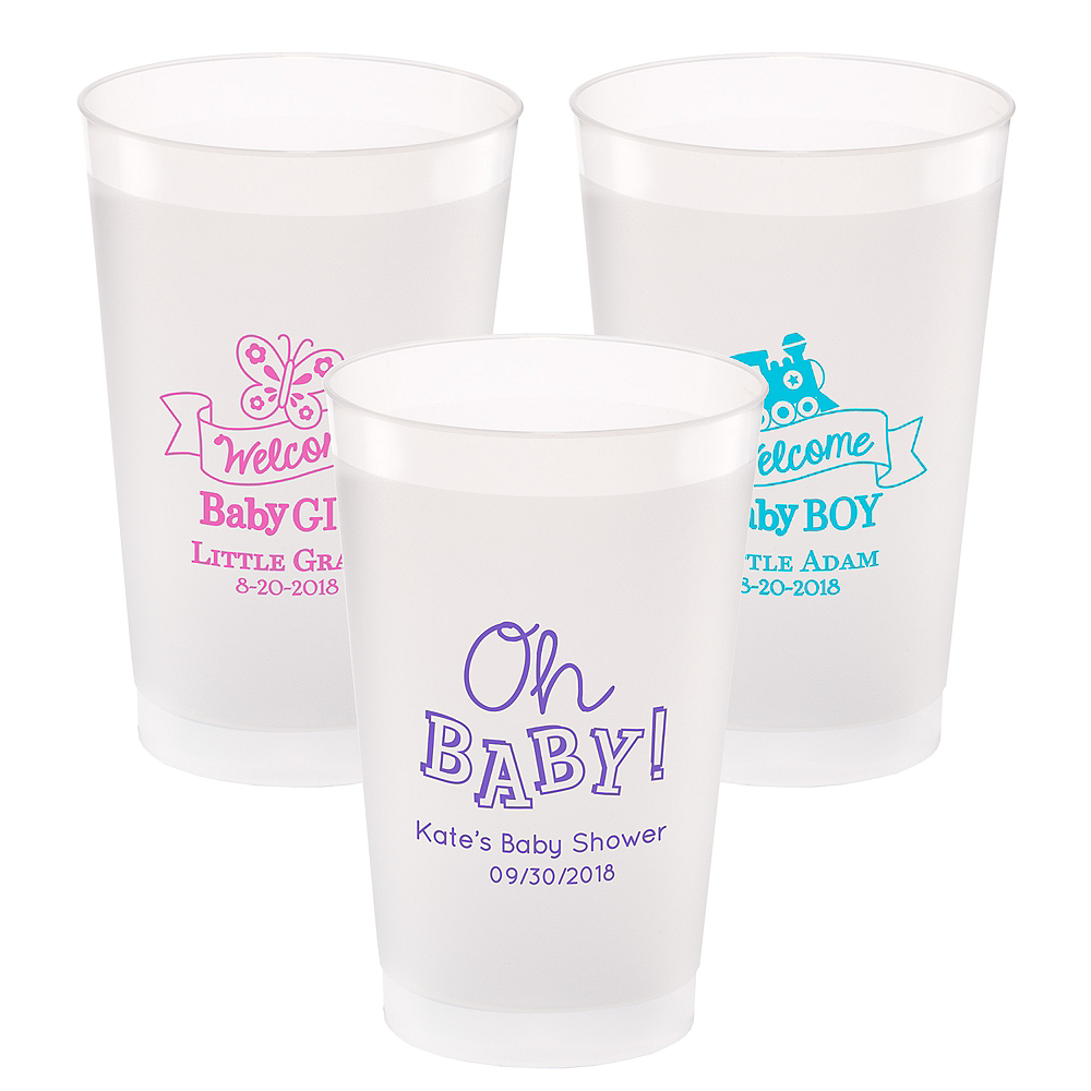 Personalized Baby Shower Frosted Plastic Shatterproof Cups 24oz Image #1