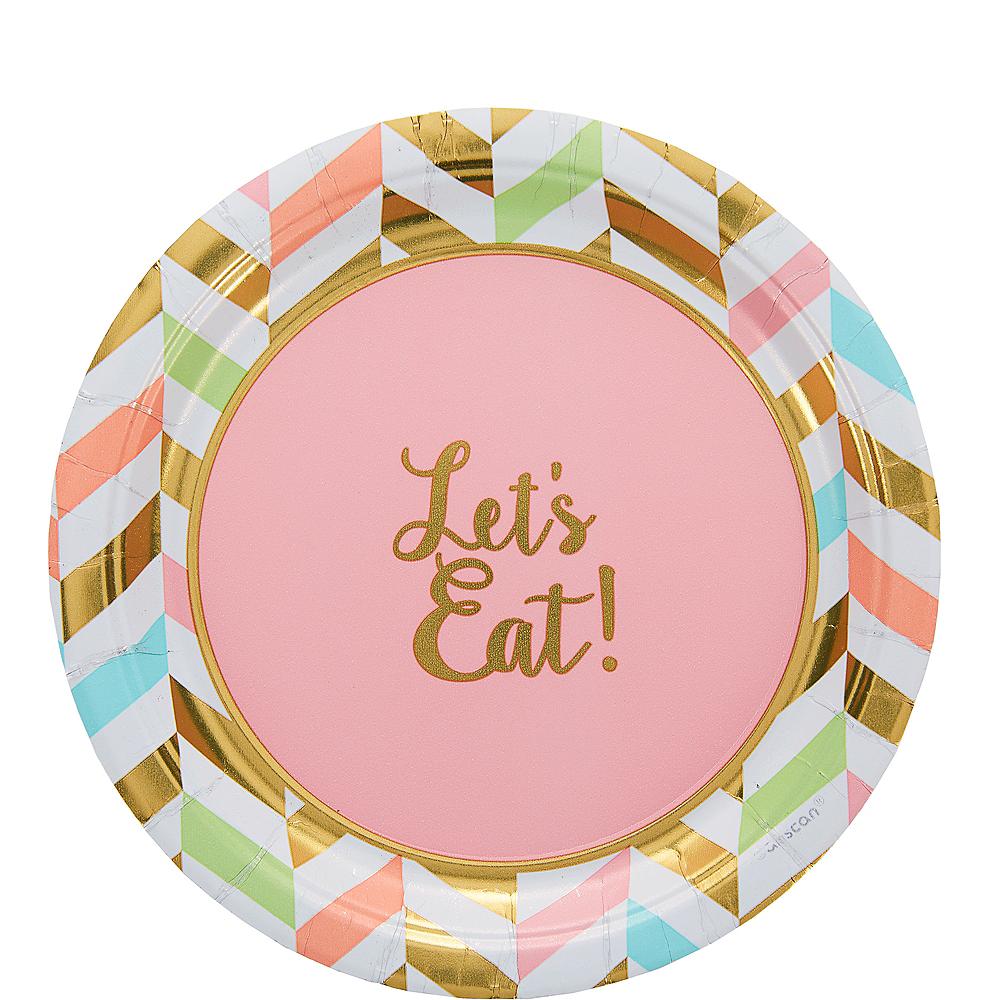 Pastel & Gold Herringbone Dessert Plates 8ct Image #1