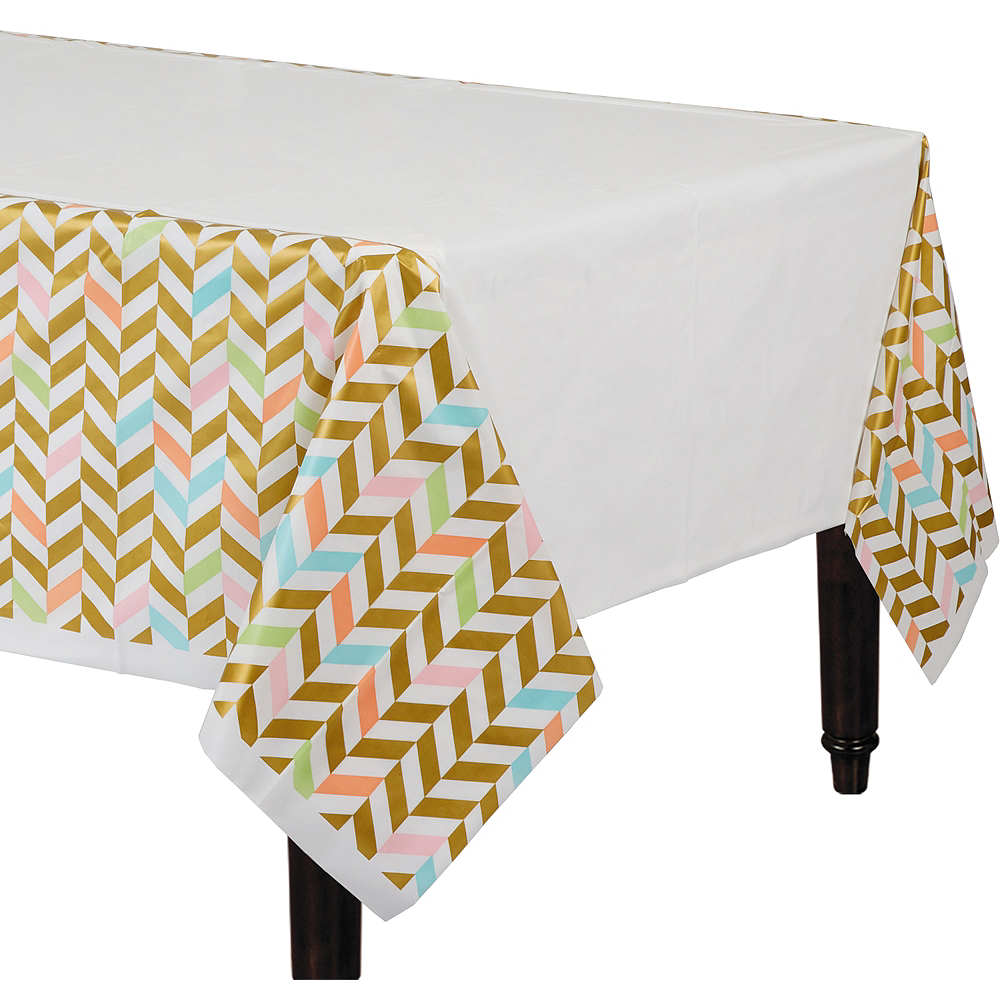 Pastel & Gold Herringbone Table Cover Image #1