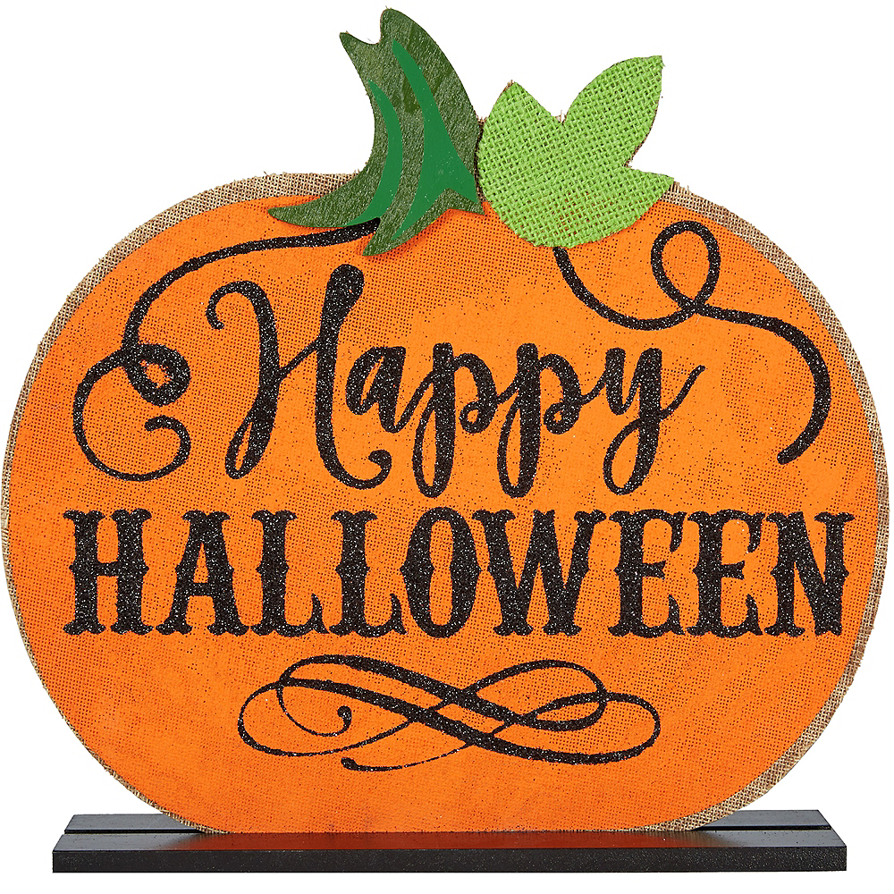 Burlap Halloween Pumpkin Table Sign Image #1