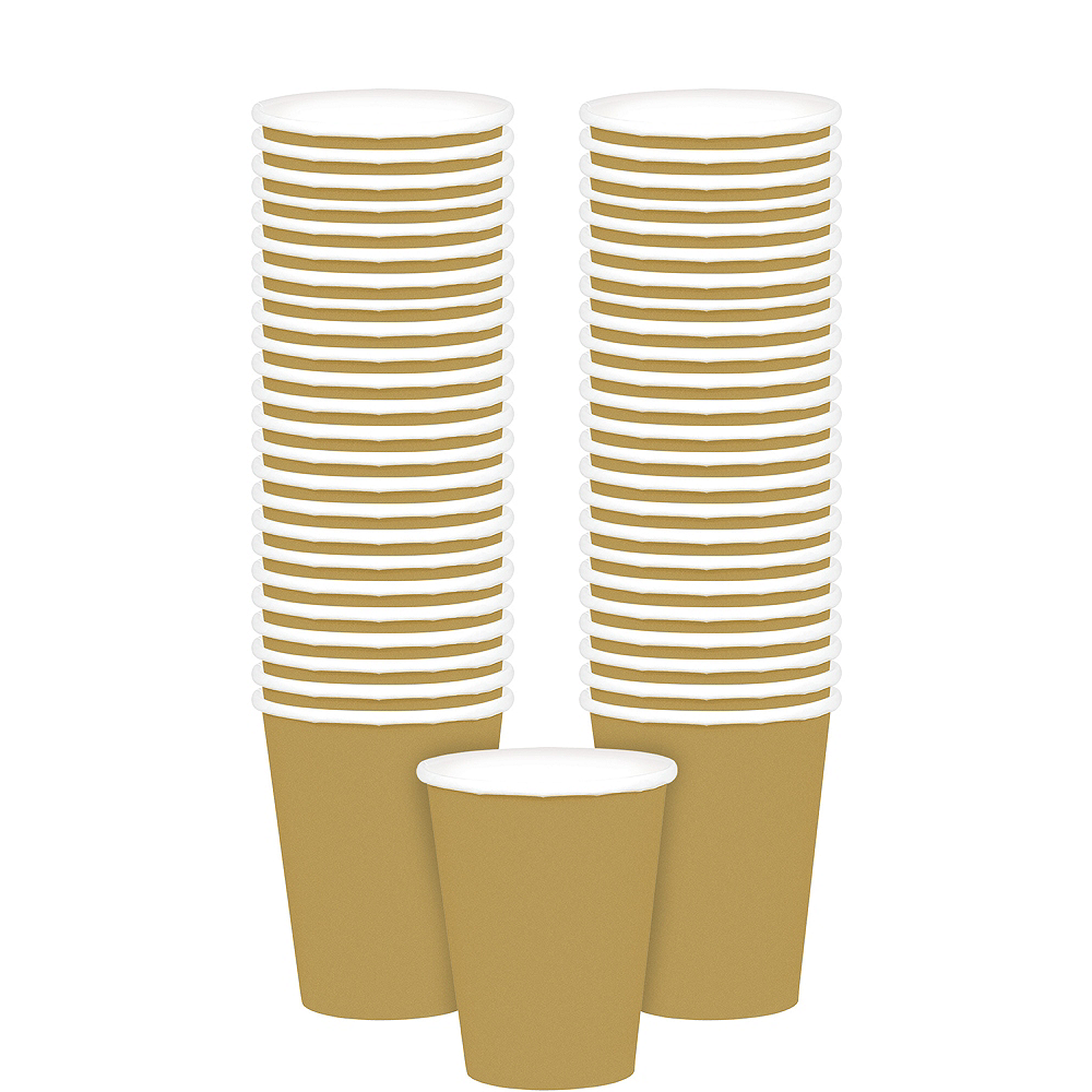 Big Party Pack Gold Paper Cups 48ct Image #1