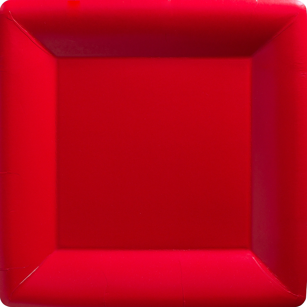 Big Party Pack Red Paper Square Dinner Plates 50ct Image #1
