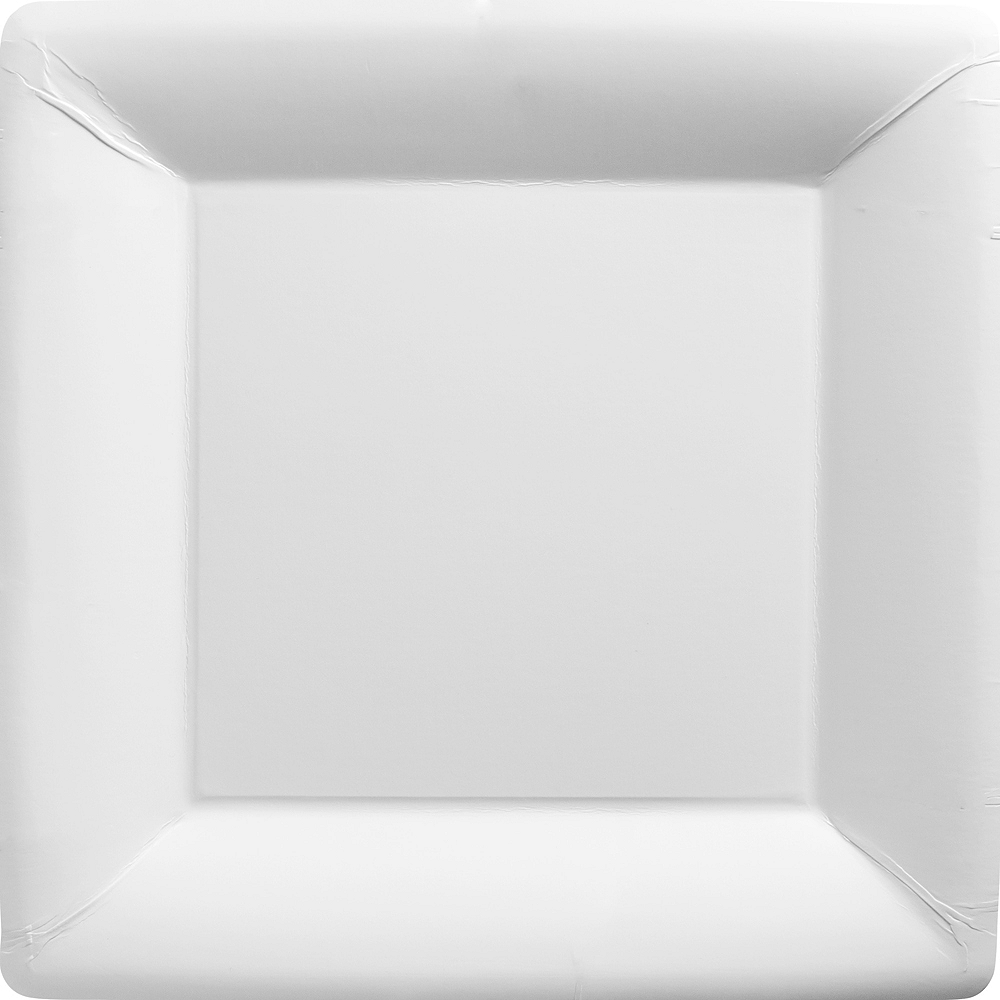 Big Party Pack White Paper Square Dinner Plates 50ct Image #1