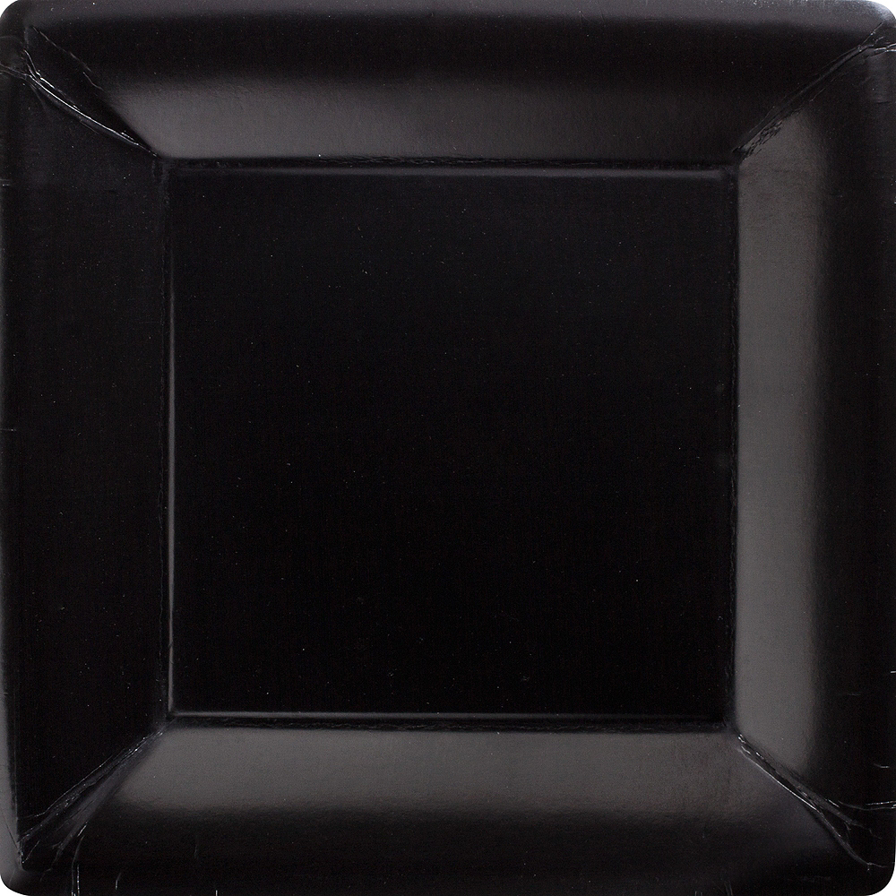 Big Party Pack Black Paper Square Dinner Plates 50ct Image #1
