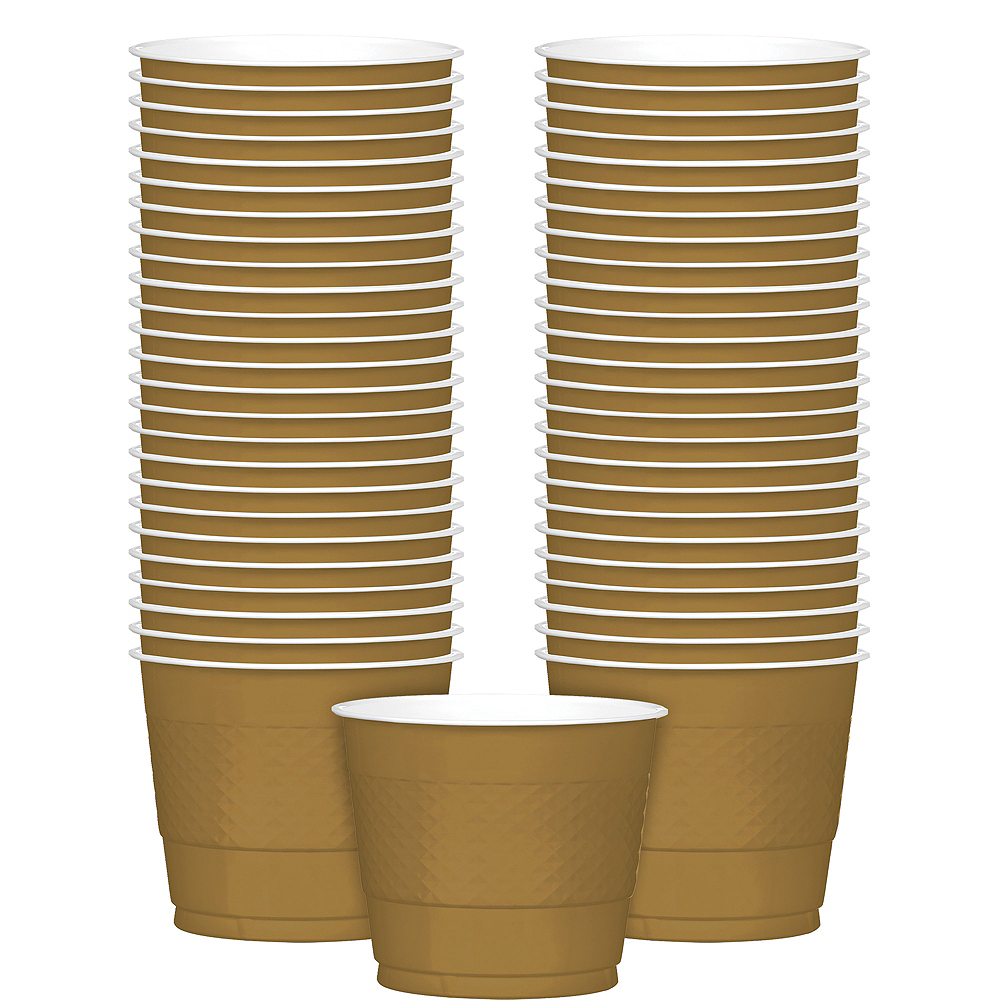 Big Party Pack Gold Plastic Cups 50ct Image #1