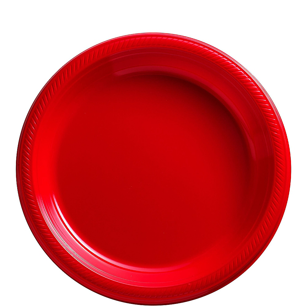 Big Party Pack Red Plastic Lunch Plates 50ct Image #1