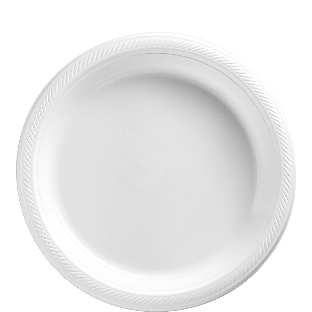 Big Party Pack White Plastic Lunch Plates 50ct Image #1