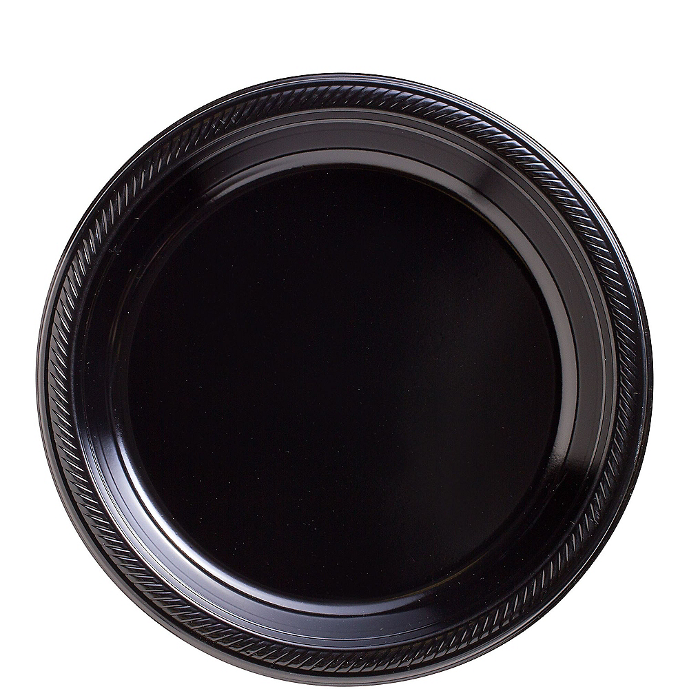 Big Party Pack Black Plastic Lunch Plates 50ct Image #1