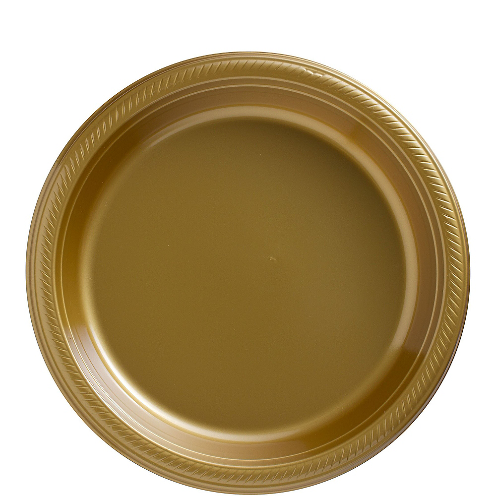 Big Party Pack Gold Plastic Lunch Plates 50ct Image #1