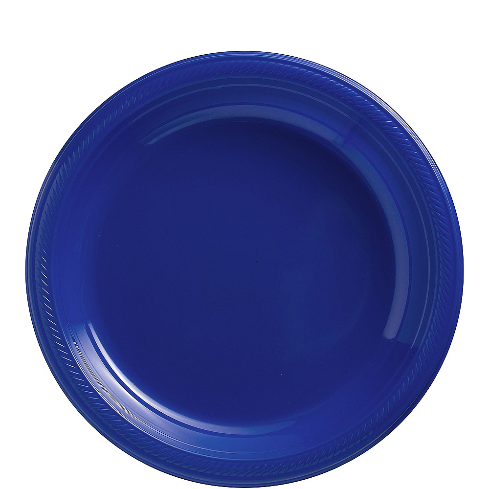 Big Party Pack Royal Blue Plastic Lunch Plates 50ct Image #1