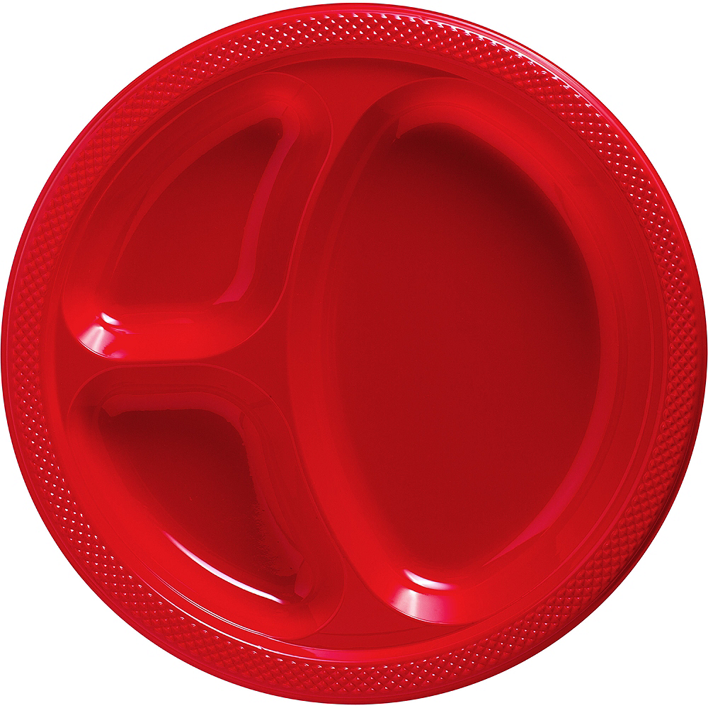 Big Party Pack Red Plastic Divided Dinner Plates 50ct