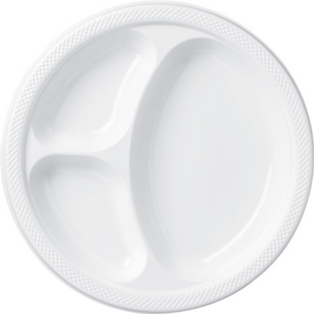 Big Party Pack White Plastic Divided Dinner Plates 50ct Image #1