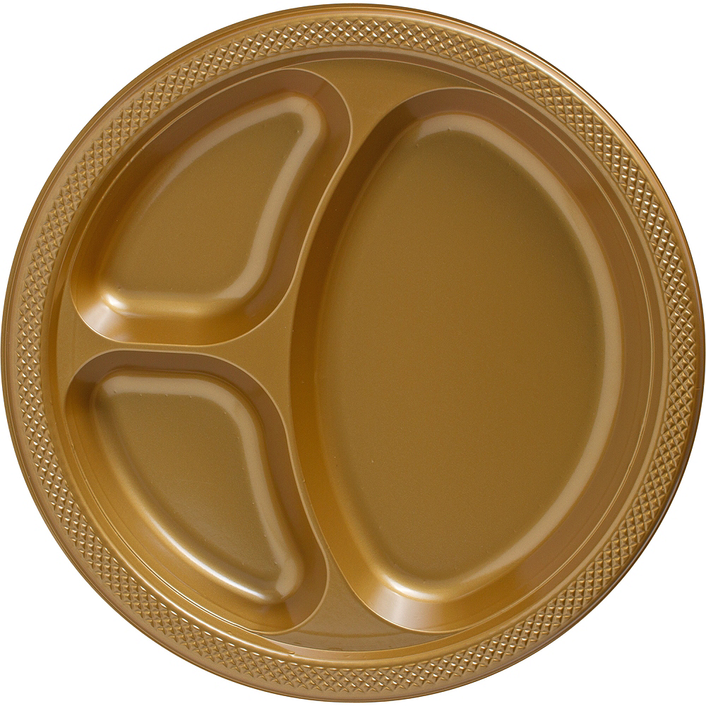 Big Party Pack Gold Plastic Divided Dinner Plates 50ct Image #1