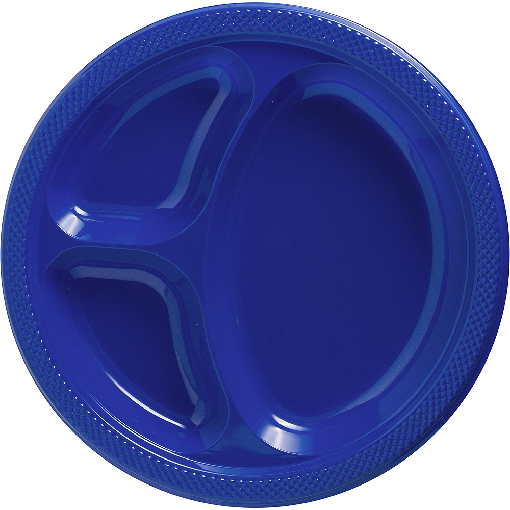 Big Party Pack Royal Blue Plastic Divided Dinner Plates 50ct Image #1