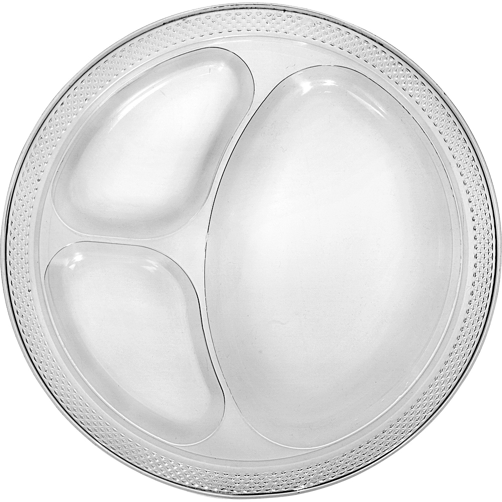 Big Party Pack CLEAR Plastic Divided Dinner Plates 50ct Image #1