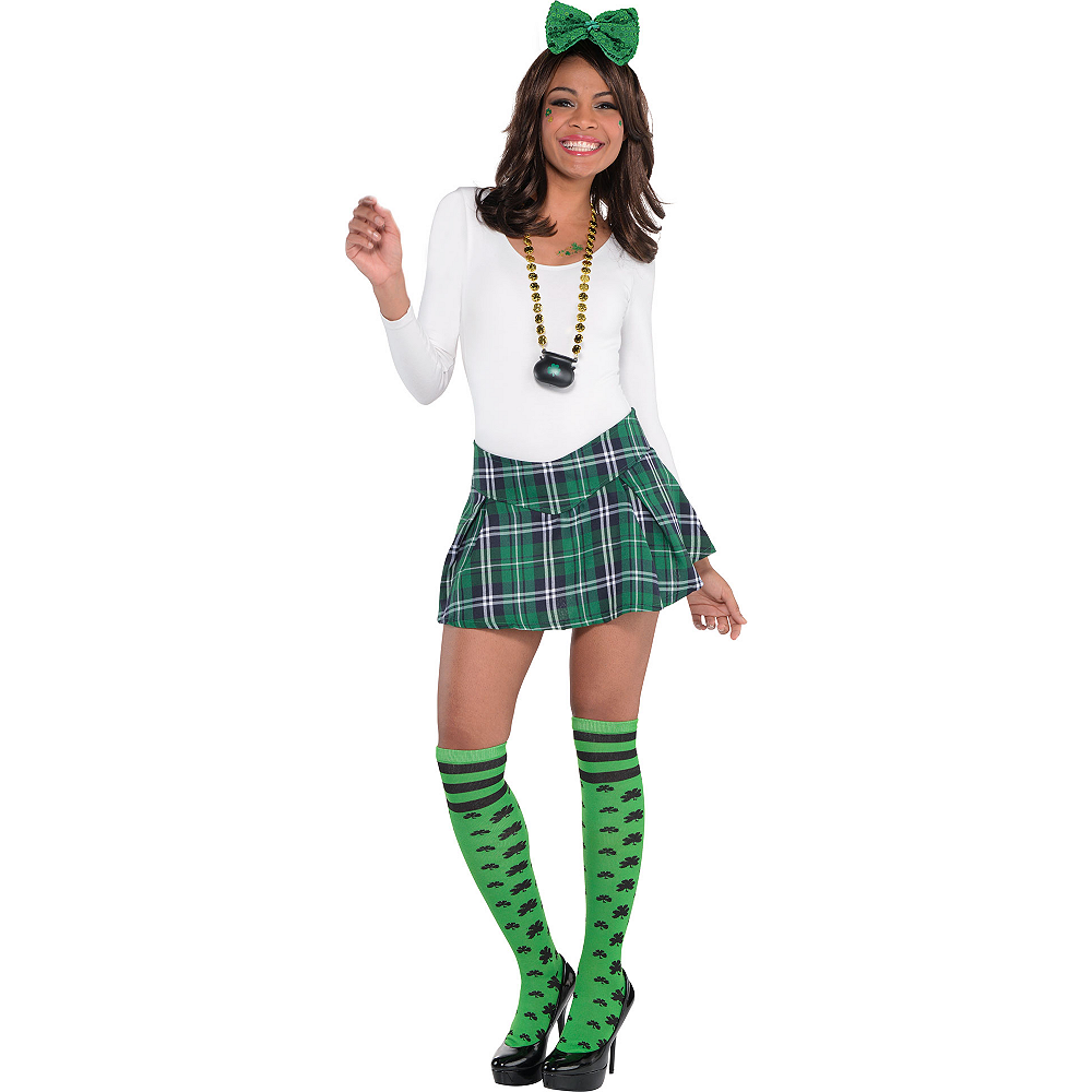 Nav Item for Adult Preppy Plaid St. Patrick's Day Costume Image #1