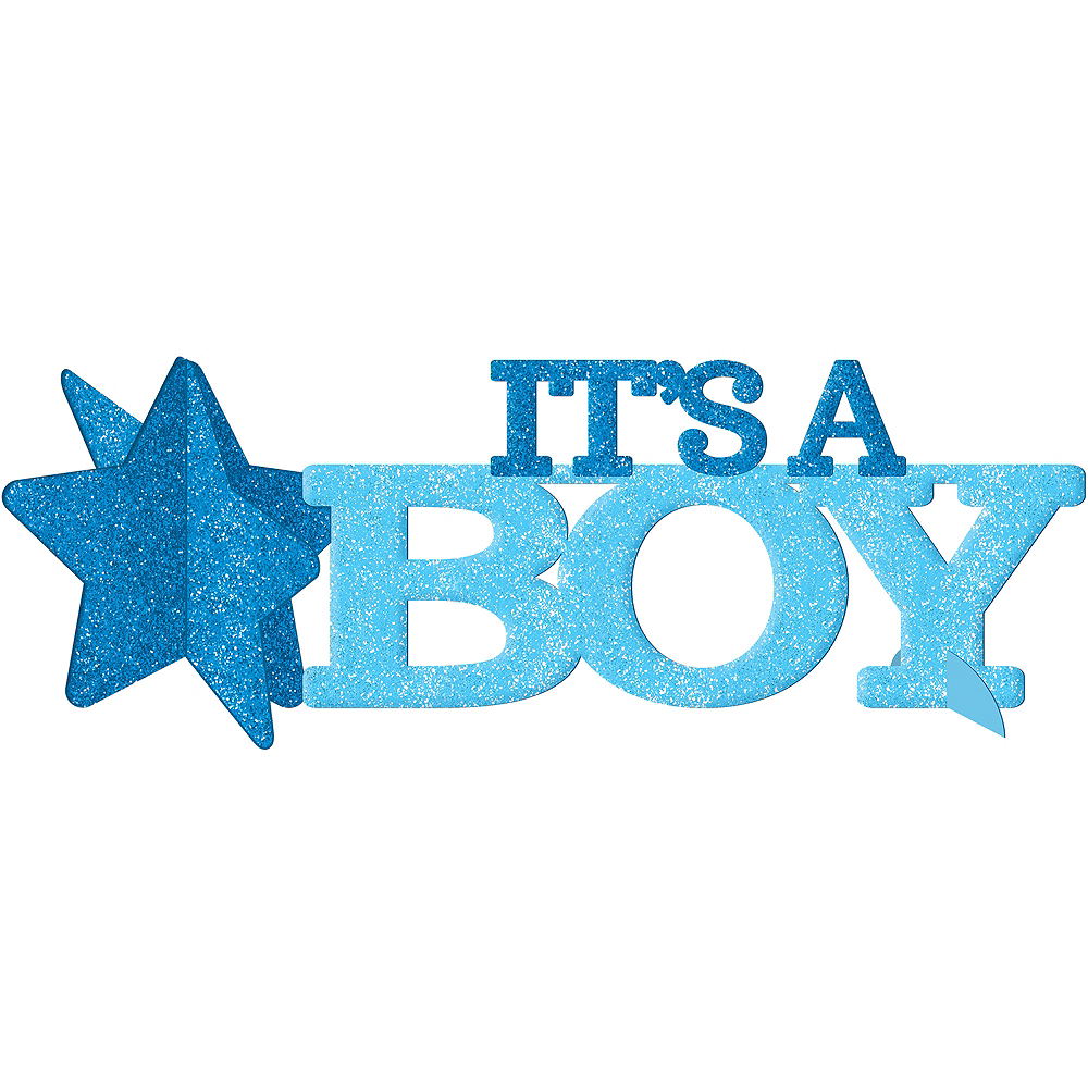 Glitter Its A Boy Baby Shower Centerpiece 14in X 4 12in Party City