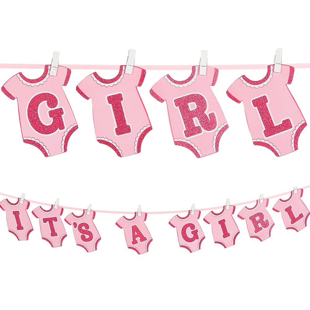It S A Girl Baby Shower Banner 12ft X 6 1 2in Party City