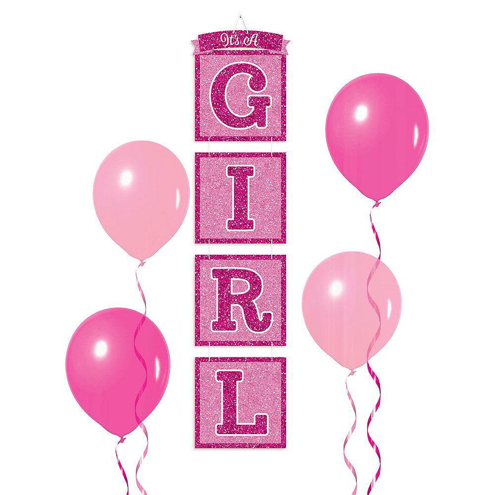 Glitter It's a Girl Stacked Sign 12in x 12ft