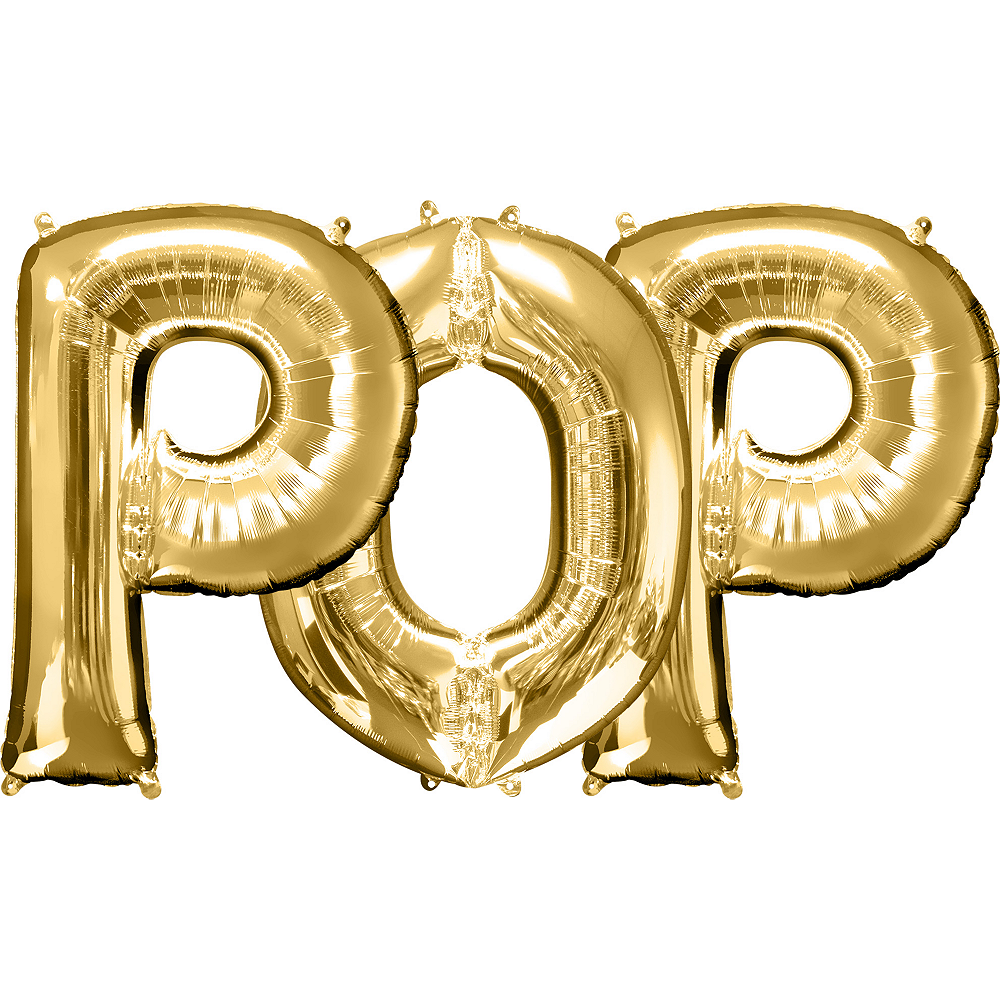 34in Gold Pop Letter Balloon Kit 3pc Image #1