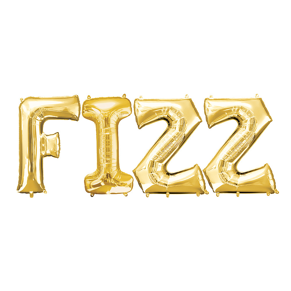34in Gold Fizz Letter Balloon Kit 4pc Image #1