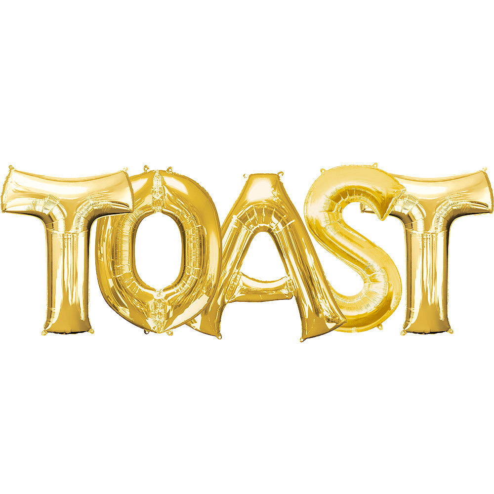 34in Gold Toast Letter Balloon Kit 5pc Image #1