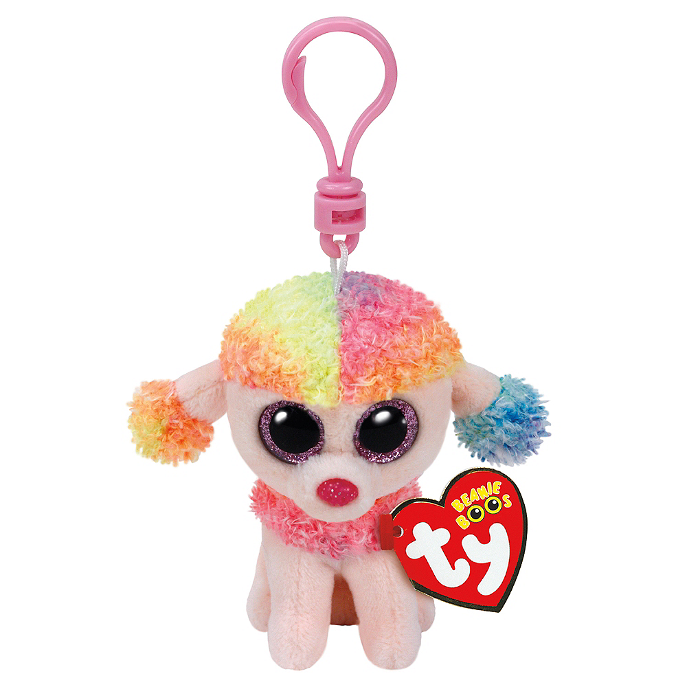 Clip-On Rainbow Beanie Boo Poodle Dog Plush Image #1