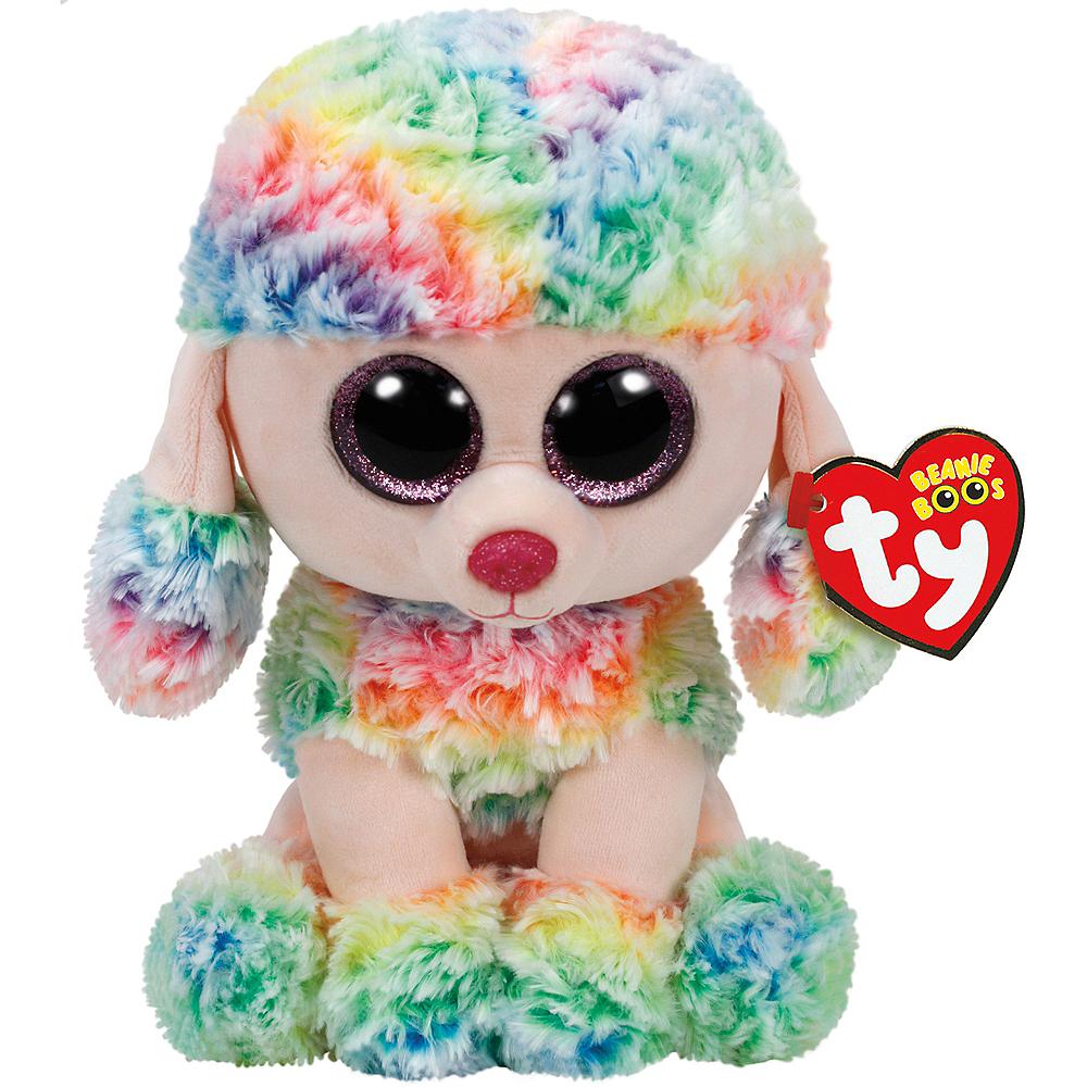 Large Rainbow Beanie Boo Poodle Dog Plush Image #1