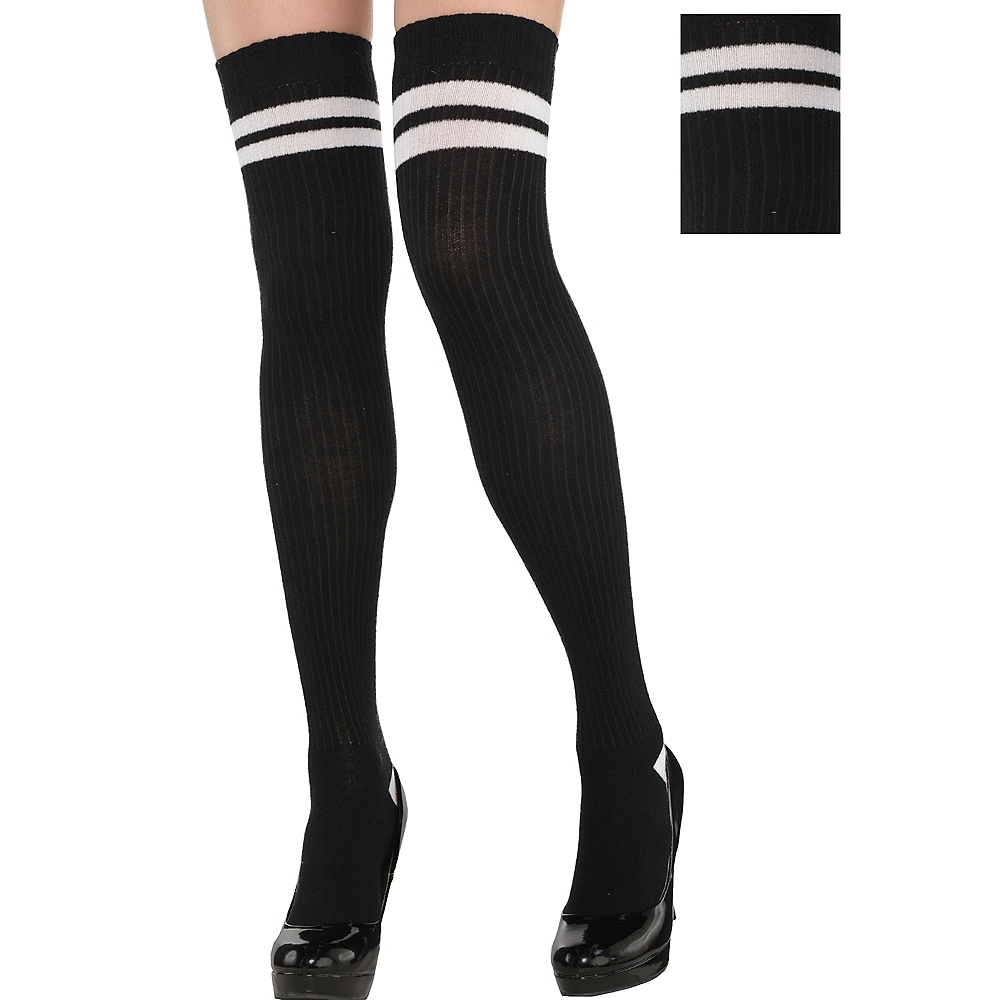 347e5adbe38 Adult Black   White Knee Socks Image  1