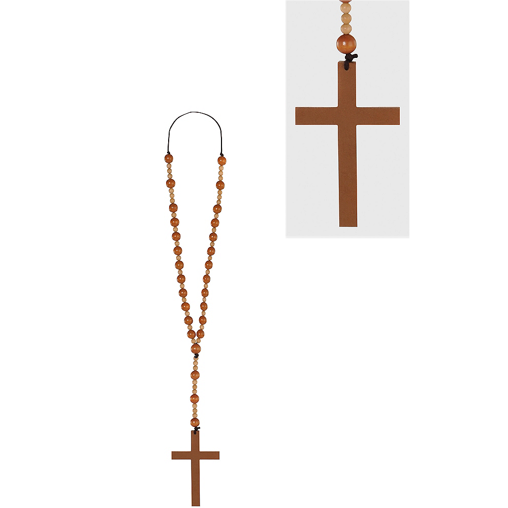 Wooden Bead Cross Necklace Image #1