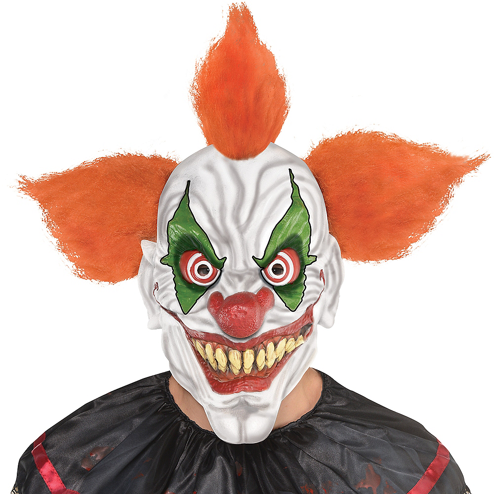 Adult Orange-Haired Clown Mask Image #3