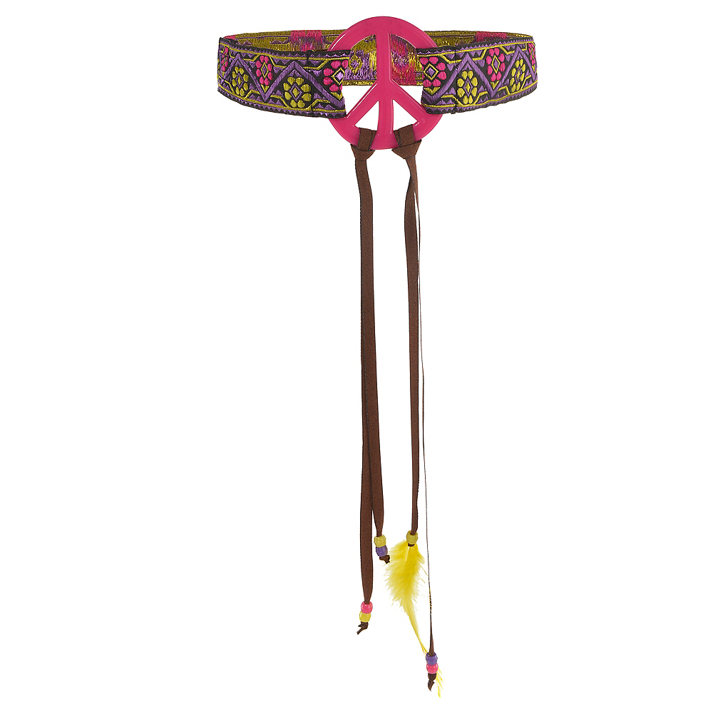 Nav Item for Adult Peace Sign Hippie Headband Image #1