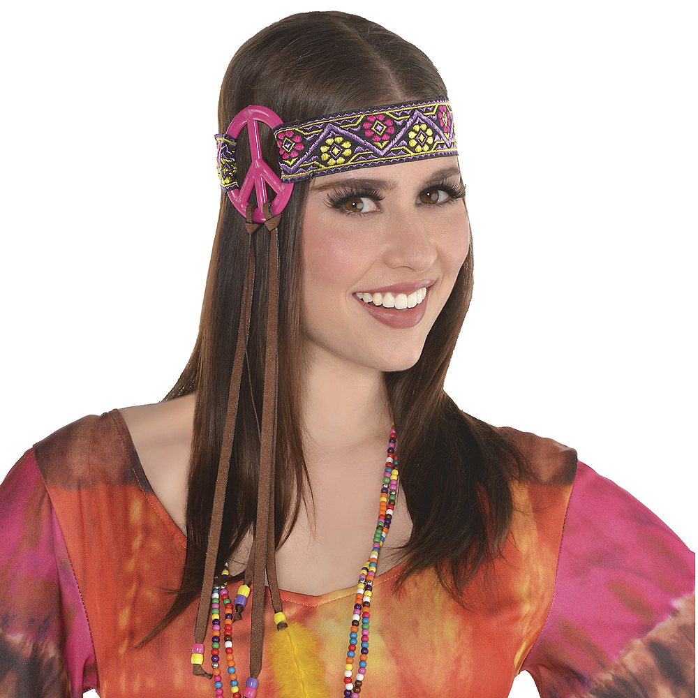 Adult Peace Sign Hippie Headband Image #2